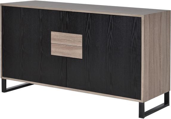 Natural Oak/Black Veneer Sideboard