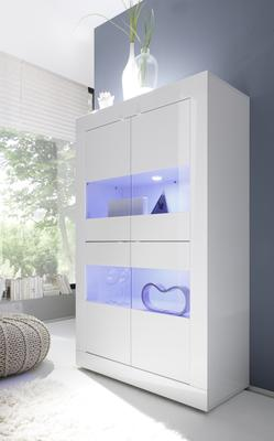 Urbino Collection Four Door Vitrine with Two Led Spotlights - White Gloss Finish