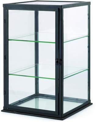 Small Display Cabinet Black Painted Distressed Finish