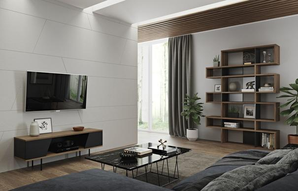 TemaHome London Contemporary Display Unit - Walnut, Black or White image 14