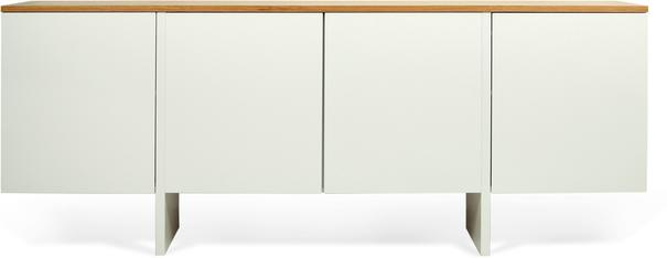 TemaHome Modern Edge Sideboard, 4 Door, Matt White, Oak, Walnut