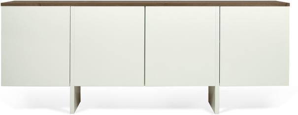 TemaHome Modern Edge Sideboard, 4 Door, Matt White, Oak, Walnut image 2