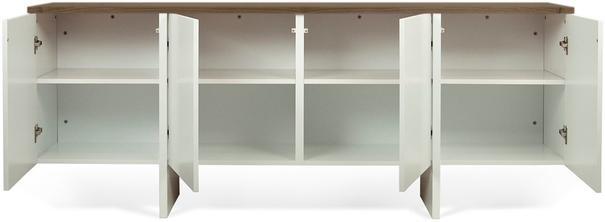 TemaHome Modern Edge Sideboard, 4 Door, Matt White, Oak, Walnut image 4