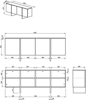 TemaHome Modern Edge Sideboard, 4 Door, Matt White, Oak, Walnut image 11