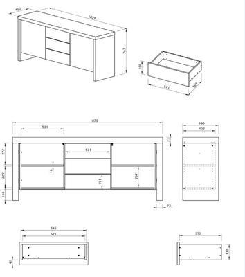 TemaHome Kobe 2 Door 3 Drawer Modern Sideboard image 9