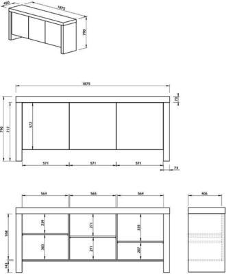 TemaHome Kobe 3 Door Sideboard - Concrete image 7