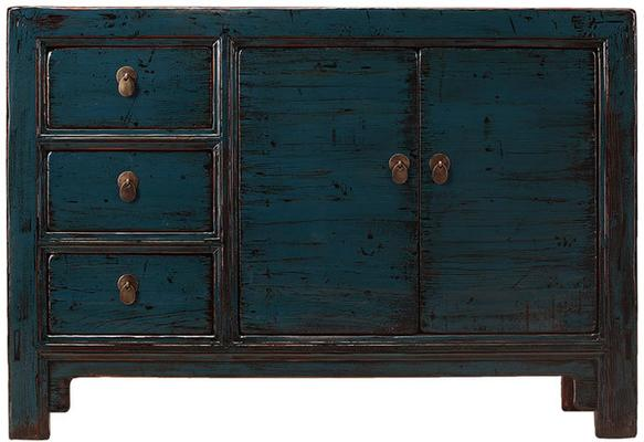 Teal Lacquer Sideboard with Three Drawers image 2