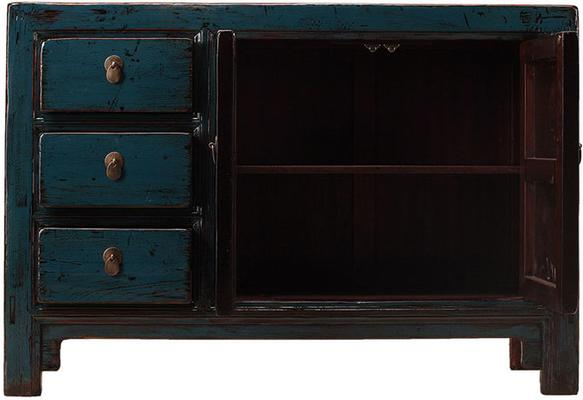 Teal Lacquer Sideboard with Three Drawers image 3