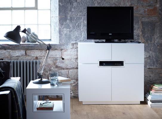 Savoye Tall TV Unit - Matt White Lacquer image 2