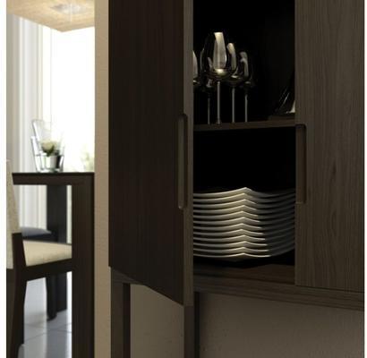 Cordoba Modern Small Tall Sideboard - Black Wenge image 6