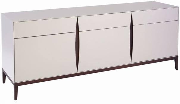 Lux Art Deco Long Sideboard Matt Shaded White Lacquer, Walnut