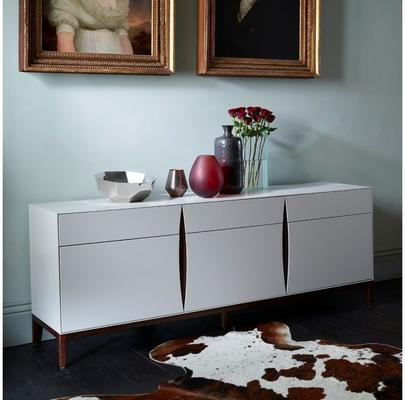 Lux Art Deco Long Sideboard Matt Shaded White Lacquer, Walnut image 5