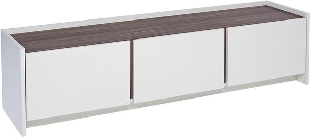 Essentials Low TV Unit - Matt White with Walnut or Oak Accent image 3