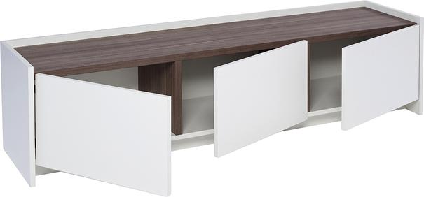 Essentials Low TV Unit - Matt White with Walnut or Oak Accent image 4