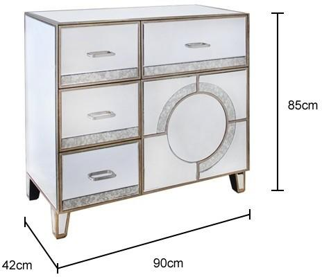 Mirrored Antique Glass Cabinet with Drawers image 3