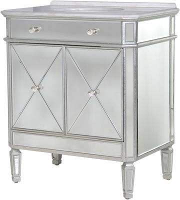 Mirrored Vanity Cabinet with Bevelled Glass and Inset Basin