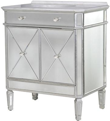 Mirrored Vanity Cabinet with Bevelled Glass and Inset Basin image 2