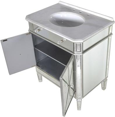 Mirrored Vanity Cabinet with Bevelled Glass and Inset Basin image 3
