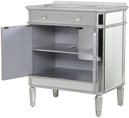 Mirrored Vanity Cabinet with Bevelled Glass and Inset Basin image 4