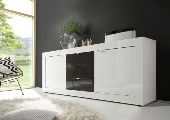 Urbino Collection Sideboard  Two Doors/Three Drawers- White Gloss Lacquer/Anthracite
