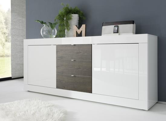 Urbino Collection Sideboard  Two Doors/Three Drawers- White Gloss Lacquer/Wenge