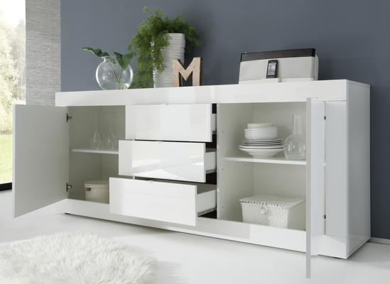 Urbino Collection Sideboard  Two Doors/Three Drawers- White Gloss Lacquer/Wenge image 2