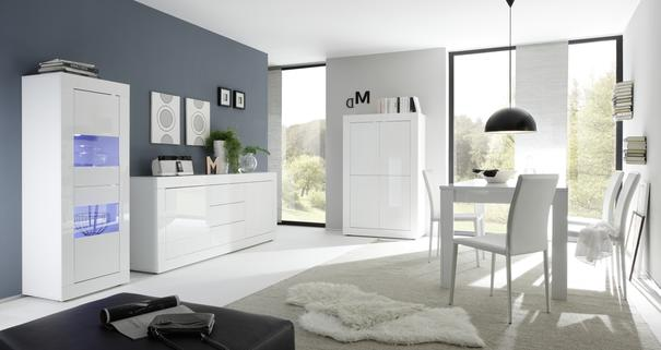 Urbino Collection Sideboard  Two Doors/Three Drawers- White Gloss Lacquer/Wenge image 3