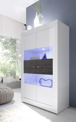 Urbino Collection Four Door Vitrine Including LED Spot Lights - Gloss White Lacquer/Wenge