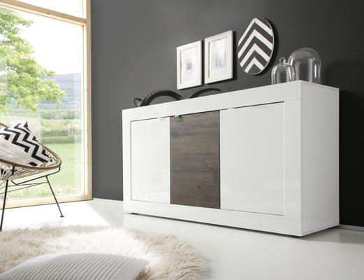Urbino Collection Sideboard 3 Door - Gloss White Lacquer  and Wenge