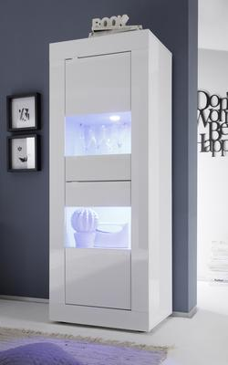 Urbino Collection Two Door Display Vitrine - Gloss White with LED Spotlight