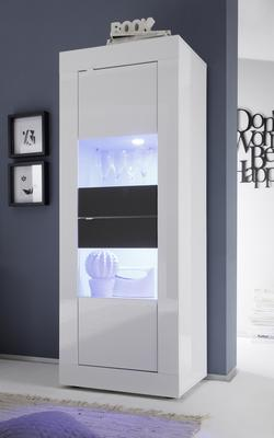 Urbino Collection Two Door Display Vitrine - Gloss White and Anthracite  with Two LED Spot