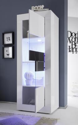 Urbino Collection Two Door Display Vitrine - Gloss White and Anthracite  with Two LED Spot image 2