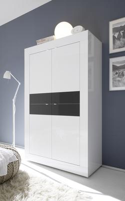 Urbino Collection Four Door High Sideboard - Gloss White Lacquer and Anthracite