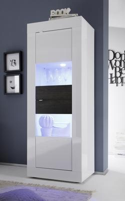 Urbino Collection Two Door Display Vitrine - Gloss White and Wenge including Two LED Spotlights