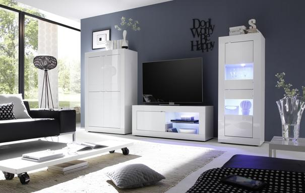 Urbino Collection Two Door Display Unit - Matt Beige with LED Lights image 2