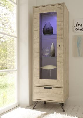 Palma Small Vitrine with LED Spot - Sherwood Oak finish