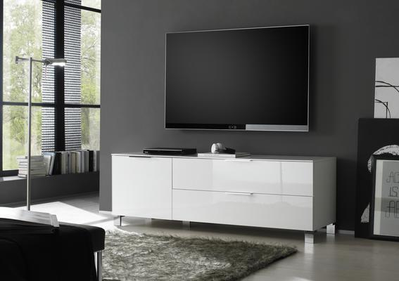 Solia Small Low White High Gloss Sideboard