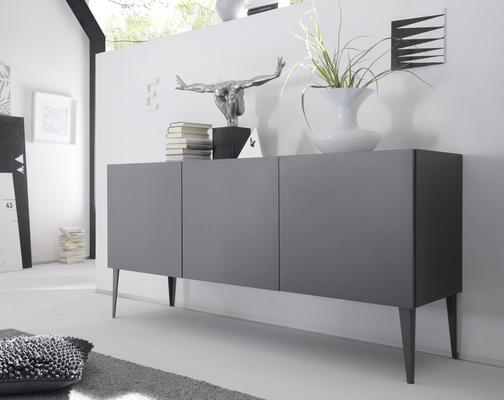 REX Three Door Sideboard - Matt Anthracite Lacquer