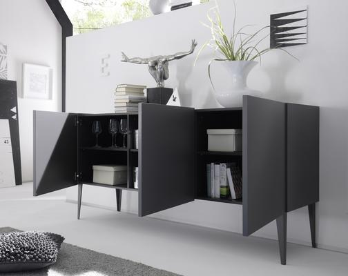 REX Three Door Sideboard - Matt Anthracite Lacquer image 2