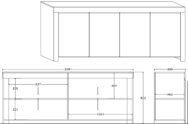 Rimini Collection Four Door Sideboard - White Gloss image 2