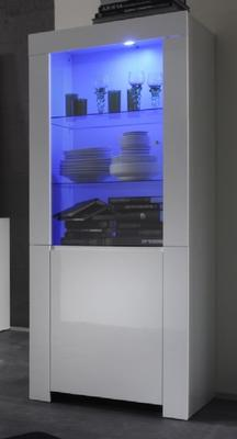 Rimini Collection Two Door Display Vitrine with LED Spot Light - White