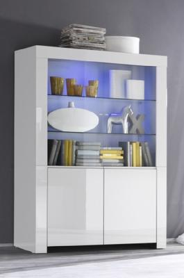 Rimini Collection Four Door Display Vitrine with LED Spots - White