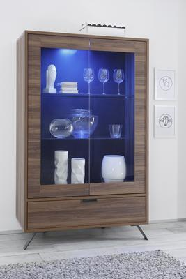 Palma Double Vitrine with Two LED Spots - Walnut