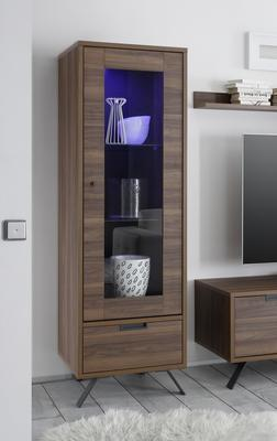 Palma Single Vitrine Including LED Spot - Walnut