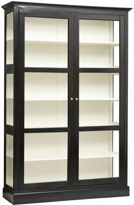 Classic Double Glass Cabinet Black Painted Wood