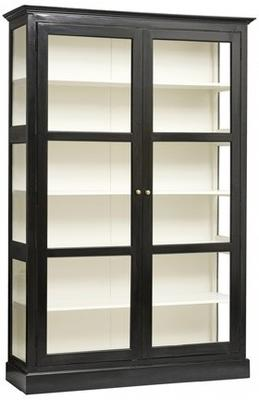 Classic Double Glass Cabinet Black Painted Wood image 2