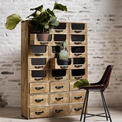 Multi Drawer Rustic Pharmacy Cabinet Pine and Iron