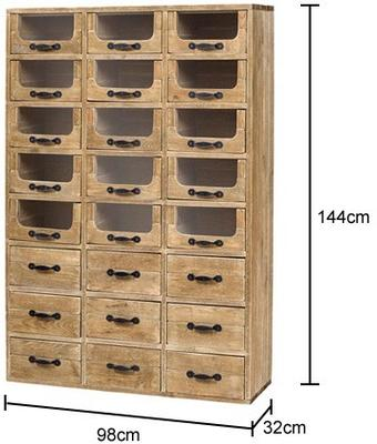 Multi Drawer Rustic Pharmacy Cabinet Pine and Iron image 2