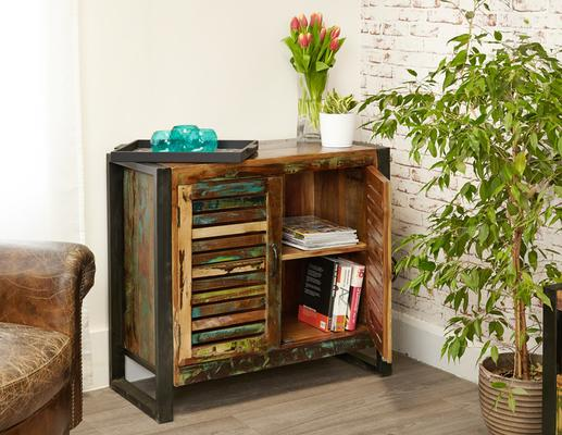 Shoreditch Rustic Two Door Small Sideboard Reclaimed Wood image 2