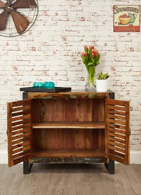 Shoreditch Rustic Two Door Small Sideboard Reclaimed Wood image 4